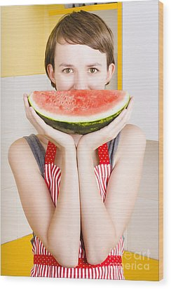 Funny Woman With Juicy Fruit Smile Wood Print by Jorgo Photography - Wall Art Gallery
