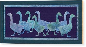 Geese Batik Wood Print by Jenny Armitage
