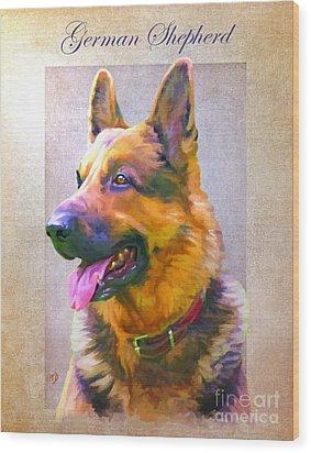 German Shepherd Portrait Wood Print by Iain McDonald