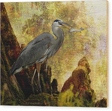 Great Blue Heron Morning Snack Wood Print by J Larry Walker