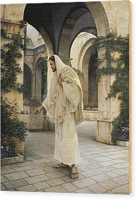 In His Constant Care Wood Print by Greg Olsen
