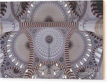 Inside The Azadi Mosque At Ashgabat In Turkmenistan Wood Print by Robert Preston
