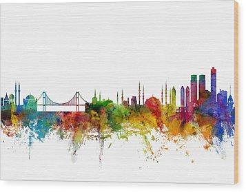 Istanbul Turkey Skyline Wood Print by Michael Tompsett