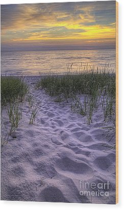 Lake Michigan Sunset Wood Print by Twenty Two North Photography