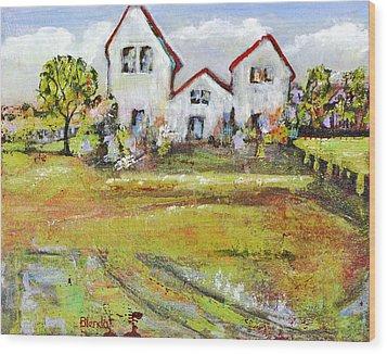 Landscape Art Scenic Fields Wood Print by Blenda Studio