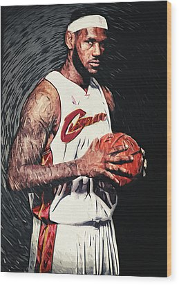 Lebron James Wood Print by Taylan Apukovska