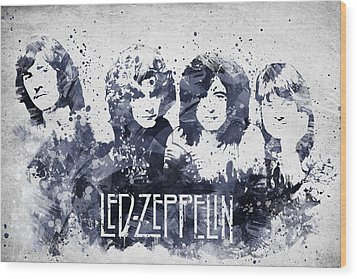 Led Zeppelin Portrait Wood Print by Aged Pixel