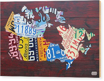 License Plate Map Of Canada Wood Print by Design Turnpike