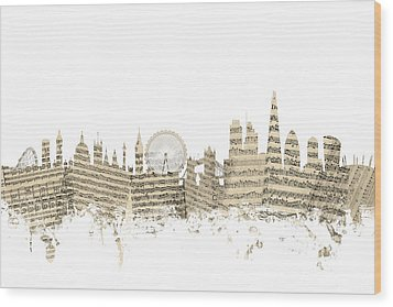 London England Skyline Sheet Music Cityscape Wood Print by Michael Tompsett