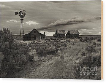 Lonely House On The Prairie Wood Print by Mike  Dawson