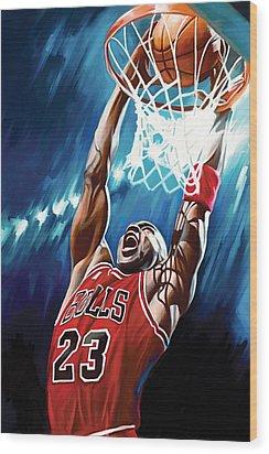 Michael Jordan Artwork Wood Print by Sheraz A