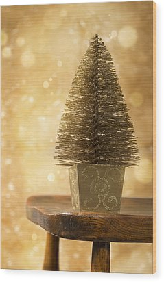 Miniature Christmas Tree Wood Print by Amanda Elwell