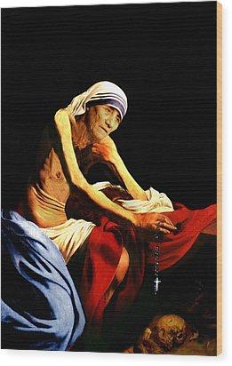 Mother Teresa Seated Nude Wood Print by Karine Percheron-Daniels