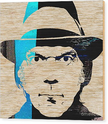 Neil Young Wood Print by Marvin Blaine