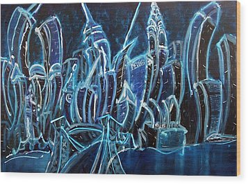 Nyc Jazz Wood Print by Felix Concepcion