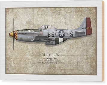 Old Crow P-51 Mustang - Map Background Wood Print by Craig Tinder