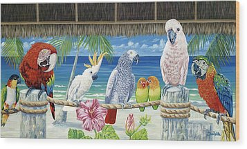 Parrots In Paradise Wood Print by Danielle  Perry