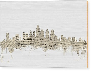 Philadelphia Pennsylvania Skyline Sheet Music Cityscape Wood Print by Michael Tompsett