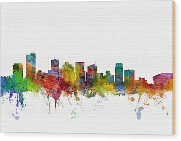 Phoenix Arizona Skyline Wood Print by Michael Tompsett