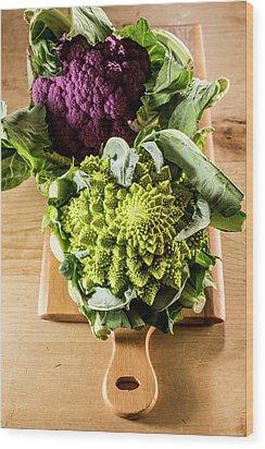 Purple And Romanesque Cauliflowers Wood Print by Aberration Films Ltd