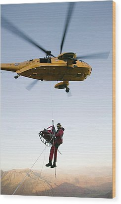 Raf Sea King Helicopter Wood Print by Ashley Cooper