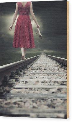 Railway Tracks Wood Print by Joana Kruse