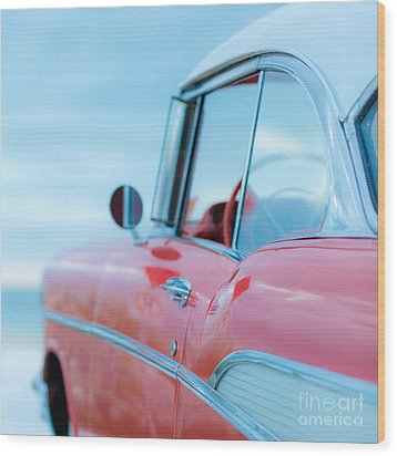 Red Chevy '57 Bel Air At The Beach Square Wood Print by Edward Fielding