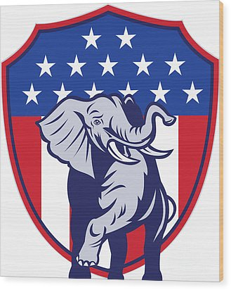 Republican Elephant Mascot Usa Flag Wood Print by Aloysius Patrimonio