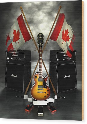 Rock N Roll Crest - Canada Wood Print by Frederico Borges
