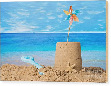 Sandcastle On Beach Wood Print by Amanda Elwell