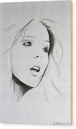 Sketch Of Beauty Wood Print by Anna Androsovski