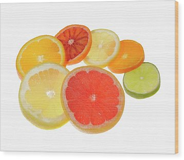 Slices Of Citrus Fruit Wood Print by Cordelia Molloy