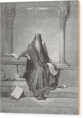 Solomon Wood Print by Gustave Dore