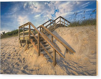 Stairway To Heaven Wood Print by Debra and Dave Vanderlaan