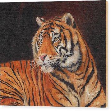 Sumatran Tiger  Wood Print by David Stribbling