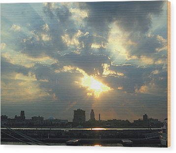 Sunrise Over Philadelphia Wood Print by Shoal Hollingsworth