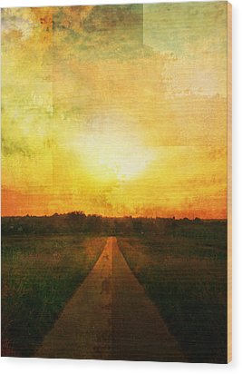 Sunset Road Wood Print by Brett Pfister