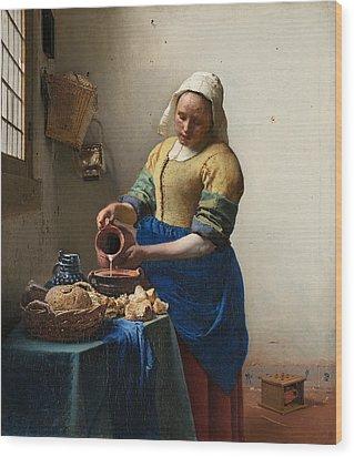 The Milkmaid Wood Print by Johannes Vermeer