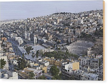 The Roman Theatre In The Middle Of The City Of Amman Jordan Wood Print by Robert Preston