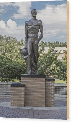 The Spartan Statue At Msu Wood Print by John McGraw