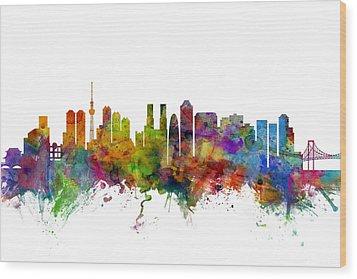 Tokyo Japan Skyline Wood Print by Michael Tompsett