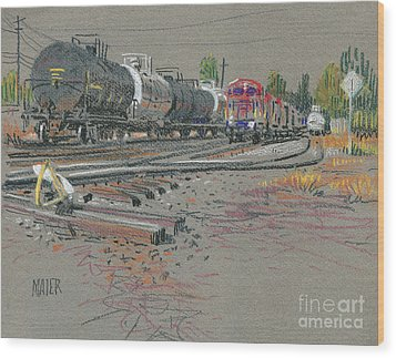 Train's Coming Wood Print by Donald Maier
