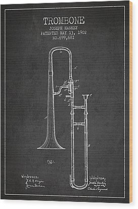 Trombone Patent From 1902 - Dark Wood Print by Aged Pixel