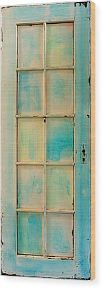 Turquoise And Pale Yellow Panel Door Wood Print by Asha Carolyn Young
