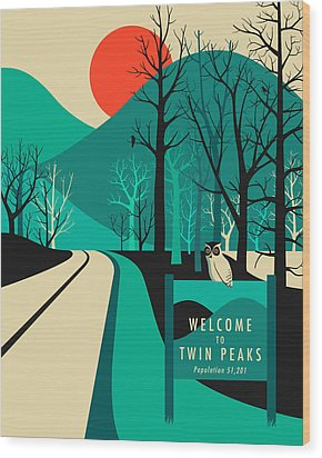 Twin Peaks Travel Poster Wood Print by Jazzberry Blue