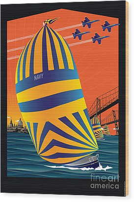 Usna Sunset Sail Wood Print by Joe Barsin