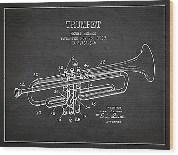 Vinatge Trumpet Patent From 1939 Wood Print by Aged Pixel
