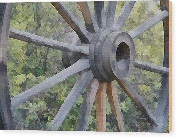 Wagon Wheel Wood Print by Ernie Echols
