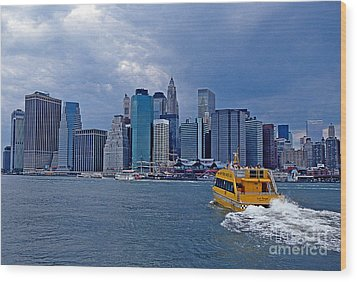 Water Taxi Wood Print by Bruce Bain