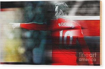 Wayne Rooney Wood Print by Marvin Blaine